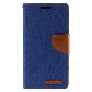 Canvas PU kožené/textilní pouzdro na Sony Xperia Z5 - modré - 3