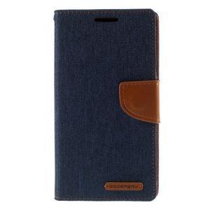 Canvas PU kožené/textilné puzdro pre Sony Xperia Z5 - tmavomodré - 3
