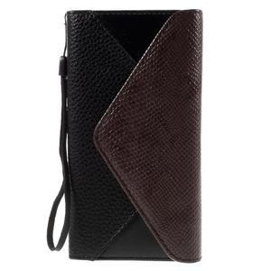 Stylové peněženkové pouzdro Sony Xperia Z5 - hnědé/černé - 3