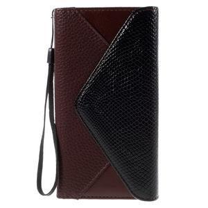 Štýlové Peňaženkové puzdro Sony Xperia Z5 - čierne/hnedé - 3