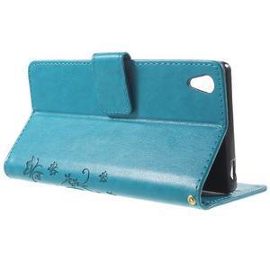 Butterfly PU kožené pouzdro na Sony Xperia Z5 - modré - 3