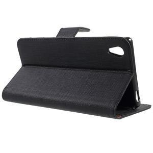 Grid PU kožené pouzdro na Sony Xperia Z5 - černé - 3