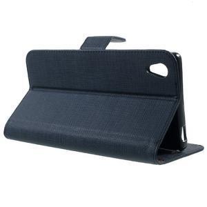 Grid PU kožené pouzdro na Sony Xperia Z5 - tmavěmodré - 3