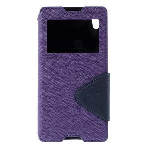 Diary puzdro s okienkom na Sony Xperia Z5 - fialové - 3