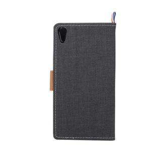 Cloth textilní/koženkové pouzdro na Sony Xperia Z5 - černé - 3