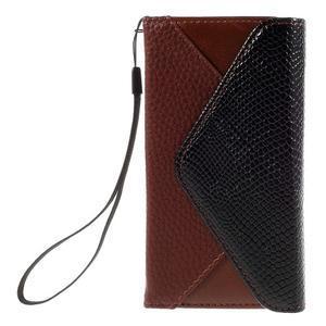 Štýlové Peňaženkové puzdro pre Sony Xperia Z5 Compact - hnedé/čierne - 3