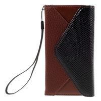 Štýlové Peňaženkové puzdro pre Sony Xperia Z5 Compact - hnedé/čierne - 3/7