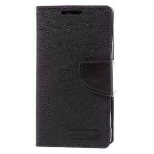 Canvas PU kožené/textilné puzdro pre Sony Xperia Z5 Compact - čierne - 3
