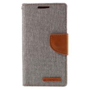 Canvas PU kožené/textilné puzdro pre Sony Xperia Z5 Compact - sivé - 3