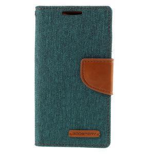 Canvas PU kožené/textilné puzdro pre Sony Xperia Z5 Compact - zelené - 3