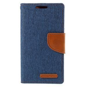 Canvas PU kožené/textilné puzdro pre Sony Xperia Z5 Compact - modré - 3
