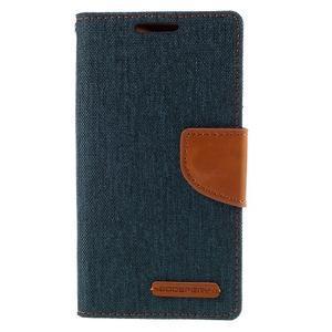 Canvas PU kožené/textilné puzdro pre Sony Xperia Z5 Compact - tmavomodré - 3