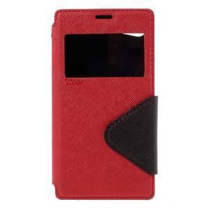 Puzdro s okienkom na Sony Xperia Z5 Compact - červené - 3