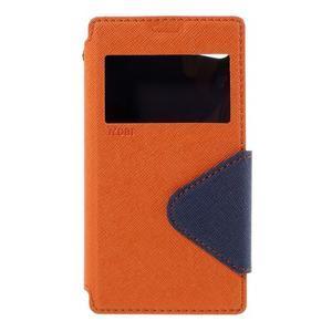 Puzdro s okienkom na Sony Xperia Z5 Compact - oranžové - 3