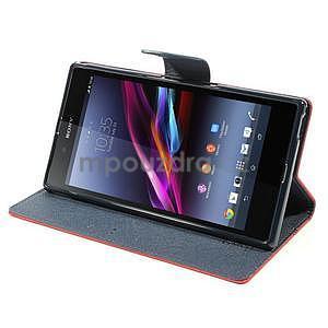 Peněženkové PU kožené pouzdro na Sony Z Ultra - červené - 3