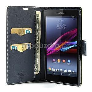 Peňaženkové PU kožené puzdro pre Sony Z Ultra - zelené - 3