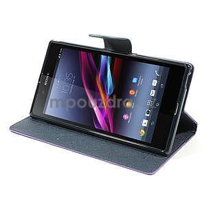 Peňaženkové PU kožené puzdro pre Sony Z Ultra - fialové - 3