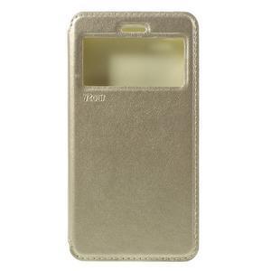 Luxy PU kožené puzdro s okienkom na Xiaomi Redmi 3 - zlaté - 3