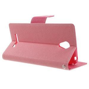 Goos PU kožené pouzdro na Xiaomi Redmi Note 2 - růžové - 3