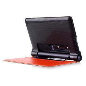 Polohovatelnotelné PU kožené pouzdro na Lenovo Yoga Tab 3 8.0 - oranžové - 3