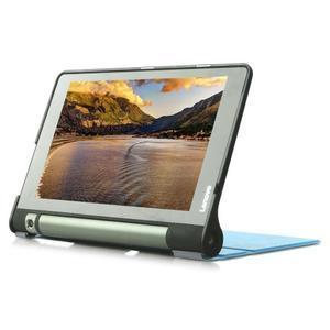 Polohovatelnotelné PU kožené pouzdro na Lenovo Yoga Tab 3 8.0 - světlemodré - 3