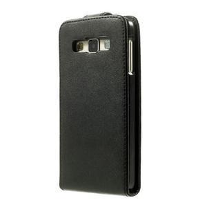 Kožené flipové puzdro na Samsung Galaxy A3 - čierné - 3