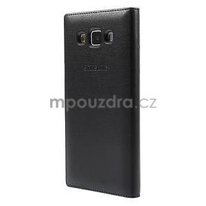 Kožené puzdro s okienkom pre Samsung Galaxy A5 - čierné - 3
