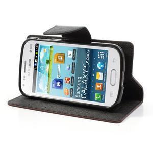 Diary puzdro na mobil Samsung Galaxy S Duos / Trend Plus - hnedé/čierne - 3