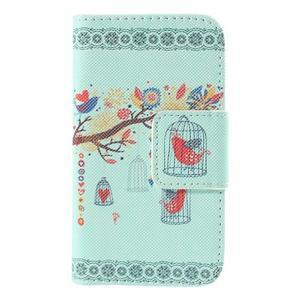 Peňaženkové puzdro pre Samsung Galaxy S Duos / Trend Plus - vtáčik v klietke - 3