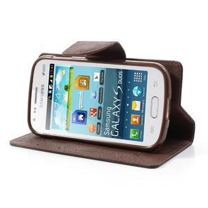 Diary puzdro pre mobil Samsung Galaxy S Duos / Trend Plus - čierne/hnedé - 3