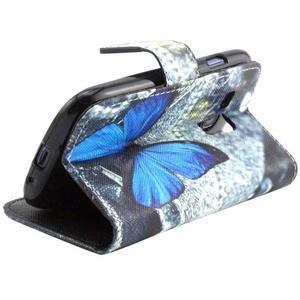 Peňaženkové púzdro pre Samsung Galaxy S3 mini - modrý motýľ - 3