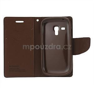 Diary peňaženkové puzdro pre mobil Samsung Galaxy S3 mini - čierne / hnedé - 3