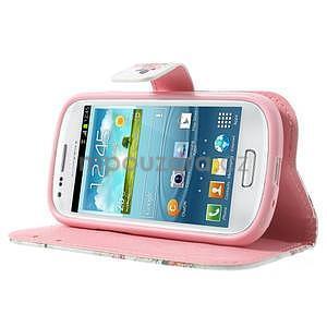 Peňaženkové puzdro na Samsung Galaxy S3 mini - kvety - 3