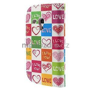 Peňaženkové puzdro pre Samsung Galaxy S3 mini - srdca - 3