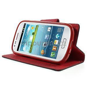 Diary peňaženkové puzdro na mobil Samsung Galaxy S3 mini - čierne/ červené - 3