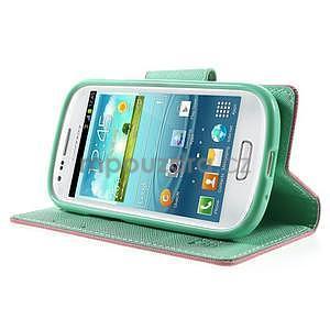 Diary peňaženkové puzdro na mobil Samsung Galaxy S3 mini - ružové/azúrové - 3