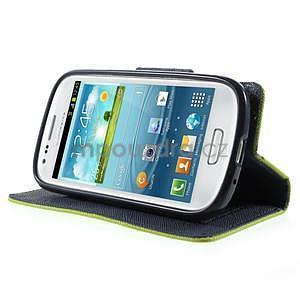 Diary peňaženkové puzdro na mobil Samsung Galaxy S3 mini - zelené/tmavomodré - 3