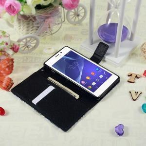 Peňaženkové puzdro pre mobil Sony Xperia M2 - modrý motýľ - 3