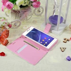 Peňaženkové puzdro pre mobil Sony Xperia M2 - kvety - 3