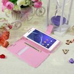 Peňaženkové puzdro pre mobil Sony Xperia M2 - kvety - 3/5