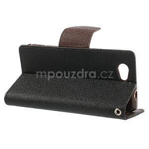 Fancy peňaženkové puzdro na Sony Xperia Z1 Compact - čierne/hnedé - 3