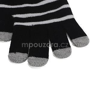 Pruhované rukavice pre práci s mobilom - čierné - 3