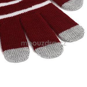 Pruhované rukavice pre práci s mobilem - červené - 3