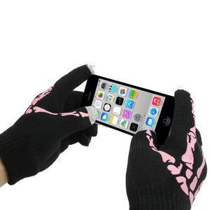 Skeleton rukavice na dotykové telefony - čierné/ružové - 3