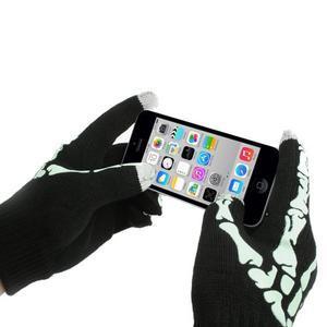 Skeleton rukavice pre dotykové telefony - čierné/zelené - 3