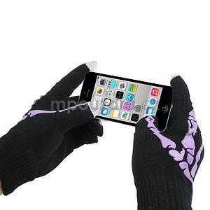 Skeleton rukavice na dotykové telefony - čierné/fialové - 3