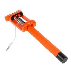 Selfie tyč s automatickým spínačom na rukojeti - oranžová - 3