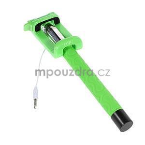 Selfie tyč s automatickým spínačom na rukojeti - zelená - 3