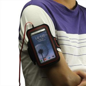 Fitness športové puzdro na mobil (140 x 75 mm) - čierne/červené - 3