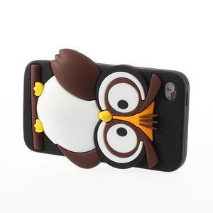 Silikonové puzdro na iPod Touch 4 - hnědá sova - 3